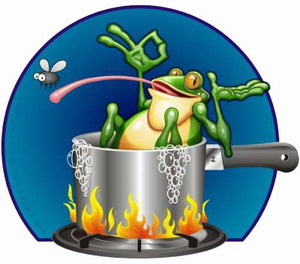 Slow boiling of a frog