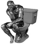 Thinker on toilet